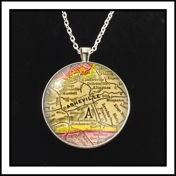 Early Map Photo Necklace Of Asheville NC Antique Map Pendant Gift  | eBay