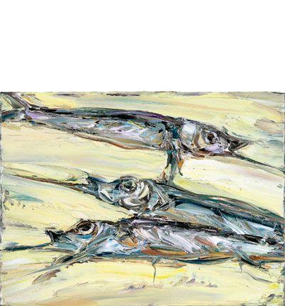 Nicholas Harding, Garfish (for Anders) 2004 Oil on Belgian linen  30x40cm