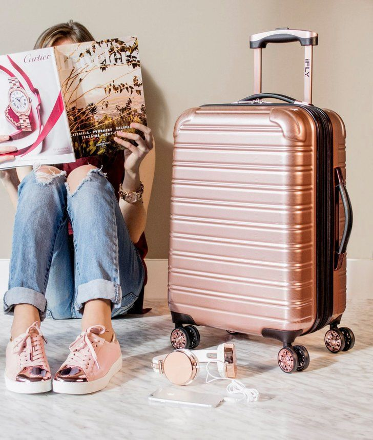 This Gorgeous Rose Gold Carry-On Suitcase Is Just $69