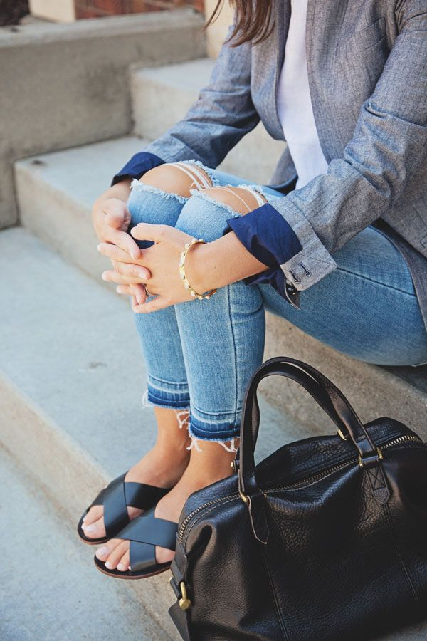 jillgg's good life (for less) | a style blog: my everyday style: a chambray blazer!