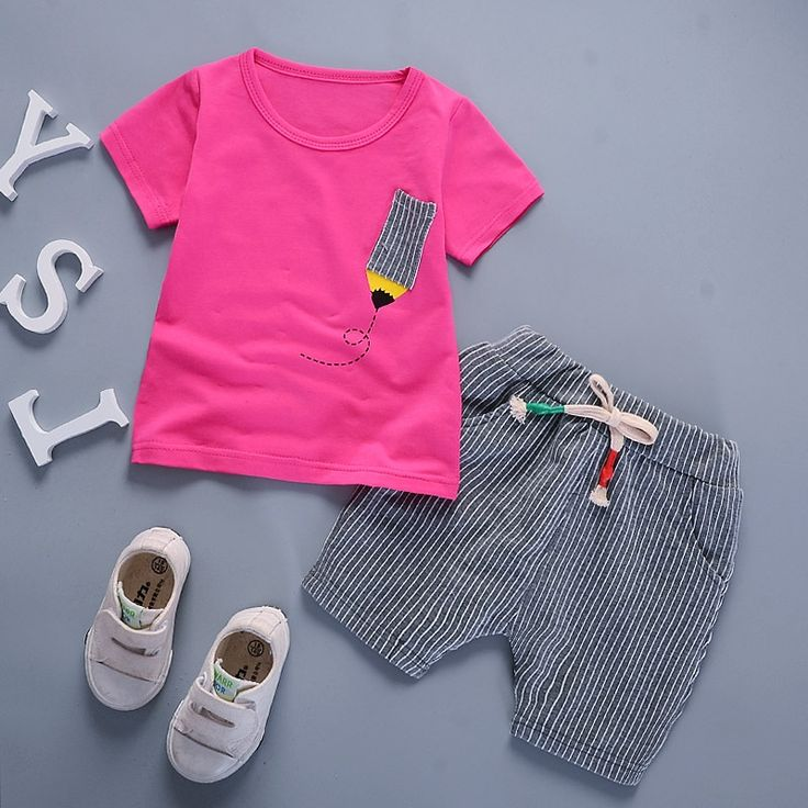 12.18$  Buy here - http://alitz6.shopchina.info/1/go.php?t=32807646107 - Cute Toddler Girl Clothing Sets Summer Style Little Boys Clothes Set Kids Clothes Leisure Sports Shorts Baby Girl Clothing Set  #magazineonlinewebsite