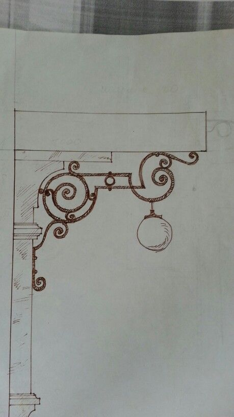 Wrought iron light support concept.