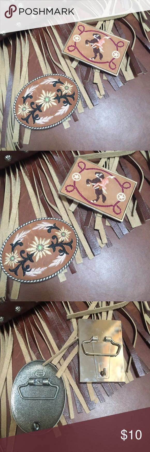 Vintage Suede Belt Buckles Two vintage suede belt buckles. One with flower design and other with Cowboy design. Perfect condition. new without the tags. This bundle includes two Vintage Accessories Belts