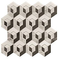 Cubic Illusion 3 Color Mix Polished Mosaic - Pack of 5