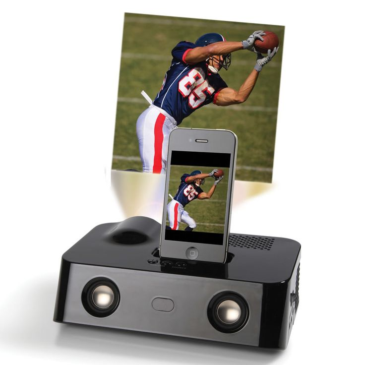The iphone video projector hammacher schlemmer p r o d for Iphone movie projector