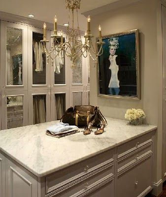 mirrored doors and chandelierDream Closets, The Doors, Closet Doors, Closets Doors, Master Closets, Closets Design, Dresses Room, Closets Spaces, Dreams Closets
