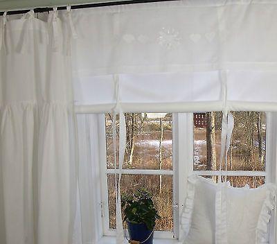 LillaBelle MANDY*Weiß Raff Gardine Rollo*100 x 140 cm*Monogramm*Landhaus*Shabby