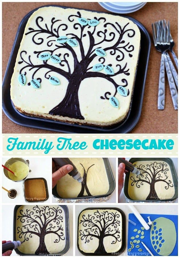 Personalize your own Family Tree Cheesecake and serve it on Mother's, Father's or Grandparent's Day. Tutorial and recipe from HungryHappenings.com