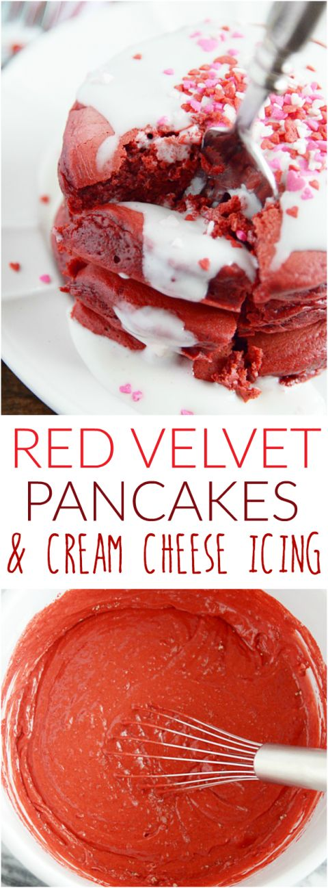 Rich and fluffy, these cream cheese glazed red velvet pancakes are the sweetest way to wake up on Valentine's Day!