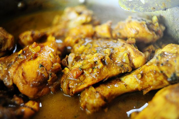 Trinidadian chicken curry  ADD FINELY CHOPPED CELERY & CHICHEN PWD TO TO CHICKEN.  ADD A CAN OF COCONUT MILK N BOIL LASTLY ADD WATER COOK   ENJOY WITH DAL ROTI