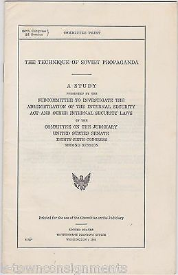 TECHNIQUE OF SOVIET PROPAGANDA VINTAGE US CONGRESS COMMITTEE RED SCARE BOOKLET