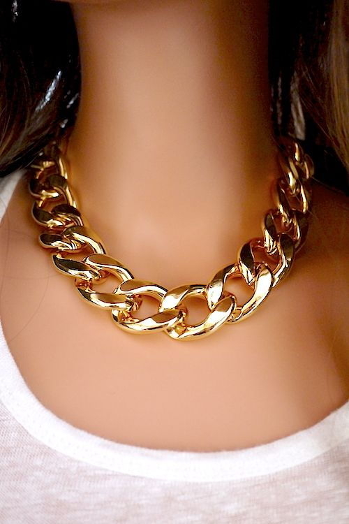 Chunky Chain Necklace -- Add a little edge to any outfit with this chunky chain link gold-tone necklace.