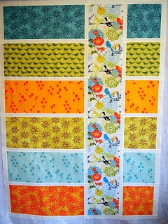 "52 Quilts in 52 Weeks: Colorblock Quilt from Valori Wells ""Wrenly"" collection. I love the middle panel fabric!"