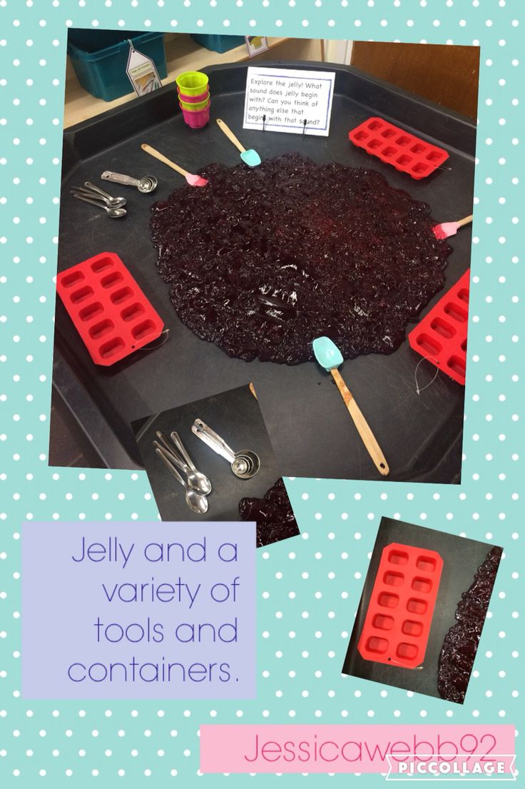 Exploring jelly with a variety of tools and containers. Ice cube trays, jelly moulds, spoons, spreaders... EYFS