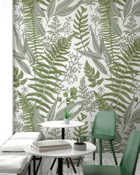 Removable Wallpaper Peel And Stick Wallpaper Wall Paper Green Etsy Wall Wallpaper Removable Wallpaper Tropical Wallpaper
