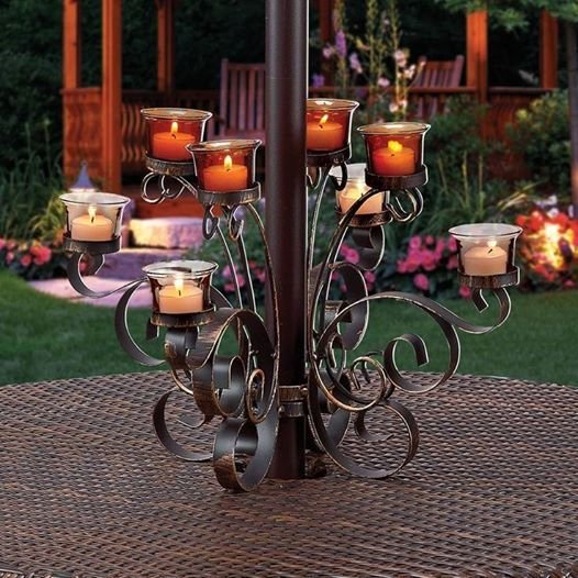 Amber Scroll Umbrella Votive Stand By Summer Barbecue Collection