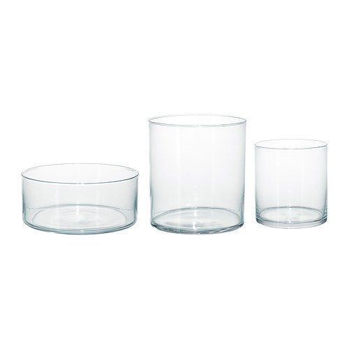 good for airplants, mini orchids needing moisture and miniplants/ferns  CYLINDER Vase/bowl, set of 3 IKEA Can be stacked inside one another to save room when storing.