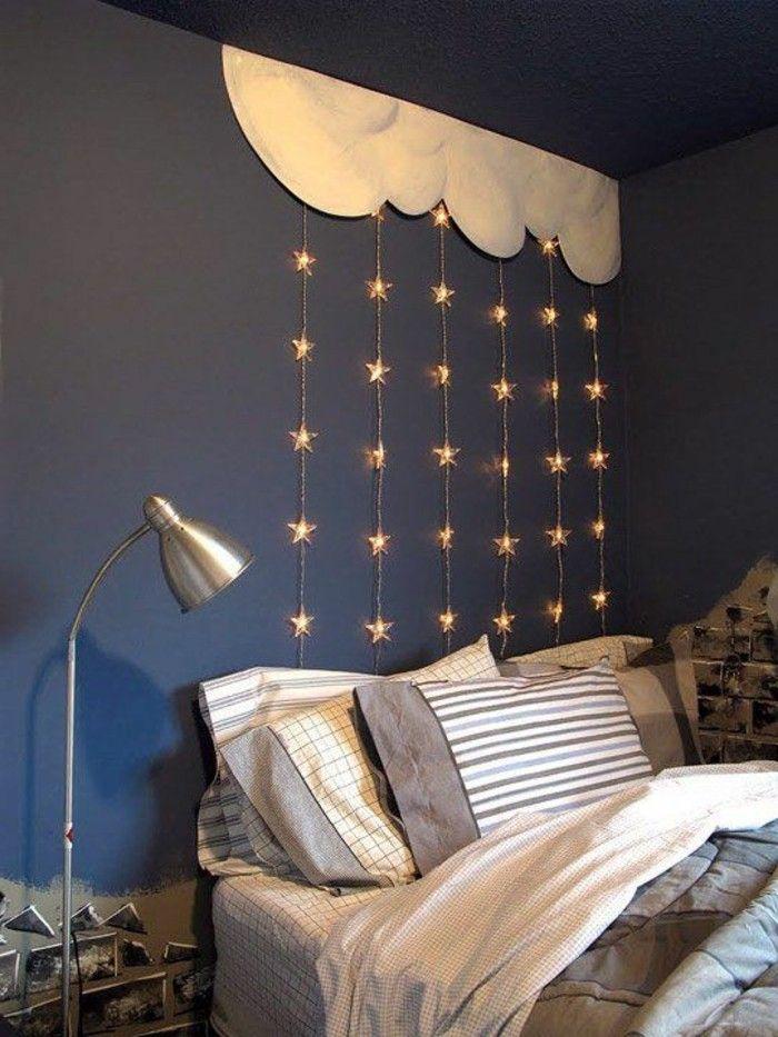 Cool gestaltung schlafzimmer blaue wand sterne mit beleuchtung