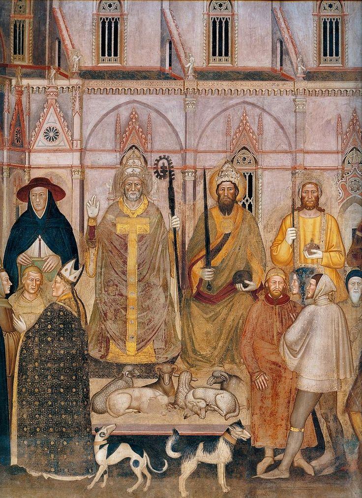 Andrea di Bonaiuto. Santa Maria Novella 1366-7 fresco 0012 - Андреа Бонайути — Википедия. Триумф церкви, деталь.