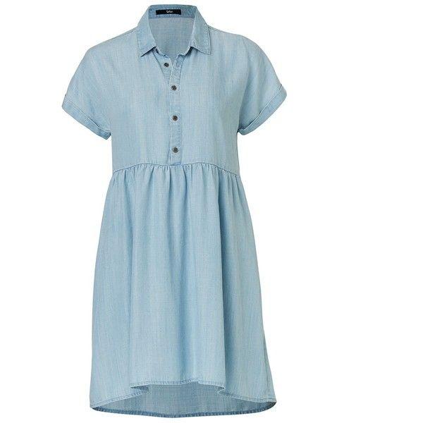 SHORT SLEEVE LYOCELL DRESS (1,470 MXN) ❤ liked on Polyvore featuring dresses, short sleeve denim dress, blue shirt dress, blue color dress, long shirt dress and denim shirt dress