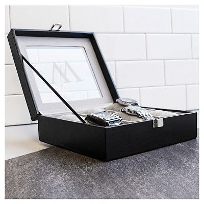 Monogram Leatherette Groomsmen Gift Watch Jewelry Box - I, Black