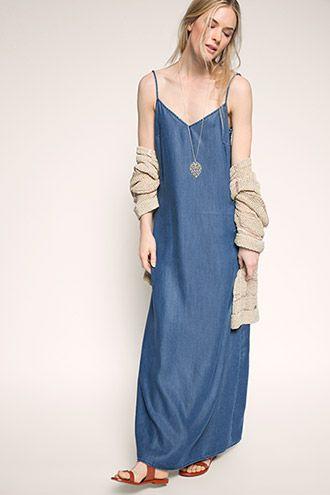 Esprit / denim maxi dress in lyocell