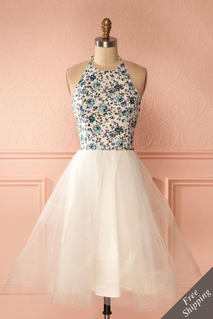 White tulle floral halter dress by Jordan de Ruiter - Robe licou floral avec tulle blanche par Jordan de Ruiter