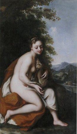 """Pittore emiliano (?) secolo XVII """"Dama con levriero (La castità?), olio su tela, cm 160 x 95 #PinacotecaCivica #AscoliPiceno #Marche #Italy"""