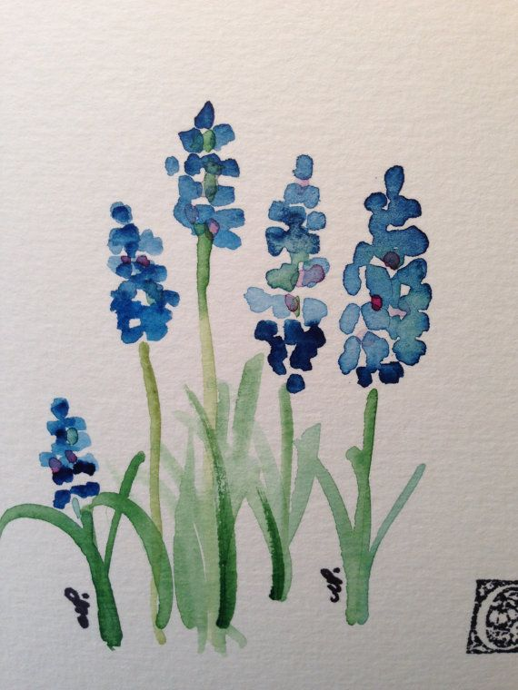 beautiful hand painted cards Grape Hyacinths Watercolor Card I by gardenblooms…