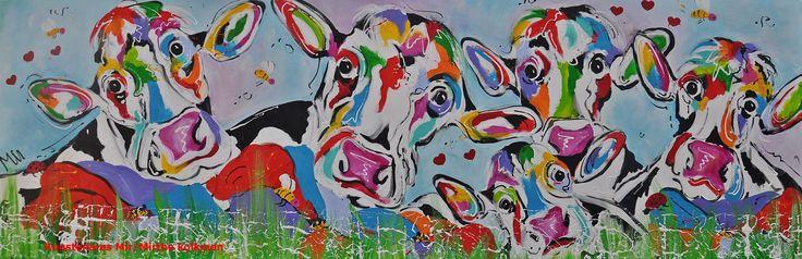 Koeien met kalf naar buiten  Veelzijdig Kunstenares Mir /  Mirthe Kolkman schildert o.a kleurrijke koeien ,dieren. art kunst dier koe keoein koeienportret kleurrijke koe haapy cows aniamal boederijdier keo en kalf in de wei koe naar buiten zomer bleoem en de bijtjes buiten grappige koeien funny colourful cow cowart  gezellige vrolijk kunstwerken hartjes bijen lieveheersbeestjes  in de natuur outdoors hollandse koe