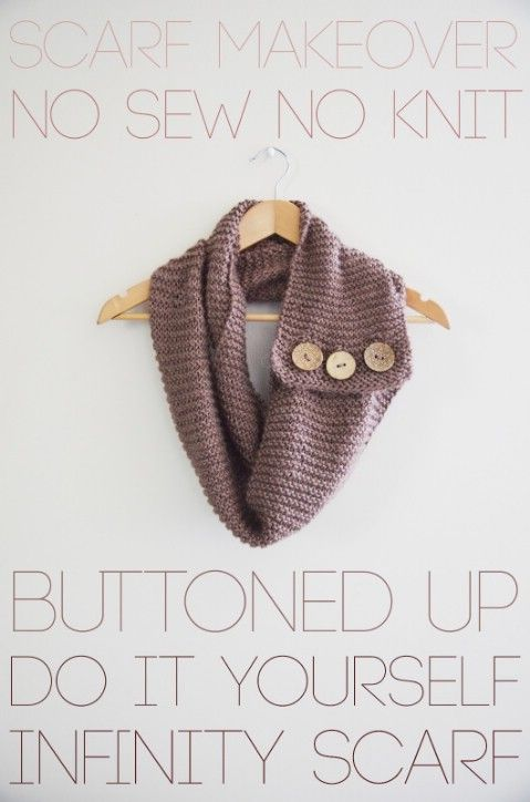 A few old knit scarves, some decorative buttons and yarn will help you to create beautiful infinity scarves that are great for wearing or giving away as gifts. You just poke the yarn through the scarf and attach the buttons to it to hold it all in place. There is no sewing or gluing required. These scarves are great and really do make the perfect gifts. Via – Psheart