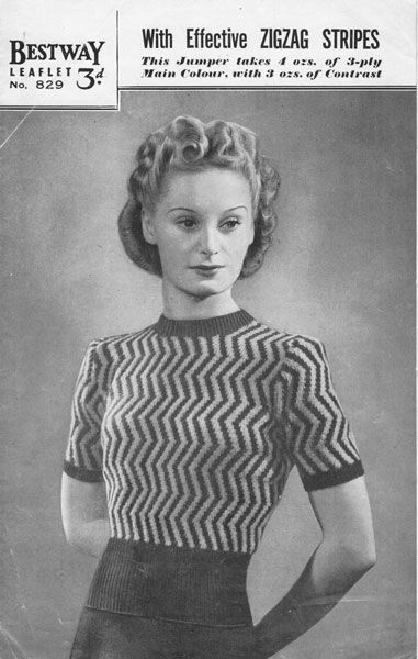 Free Vintage Knitting Patterns 1940s : 33 best images about For the love of chevrons on Pinterest Fabric online, R...