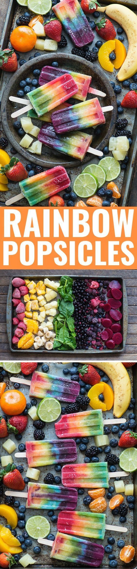 Make your own homemade rainbow popsicles with lots of fresh fruit! Colorful addition to a Spring party.
