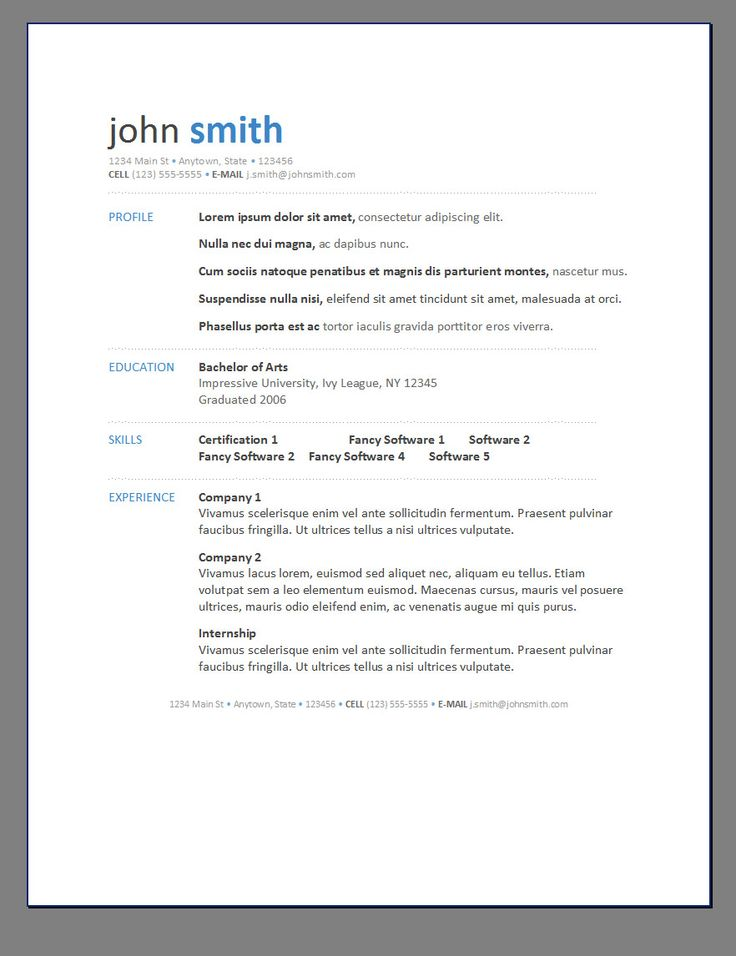 Simple Resume Template Word Simple Resume Format For Freshers In