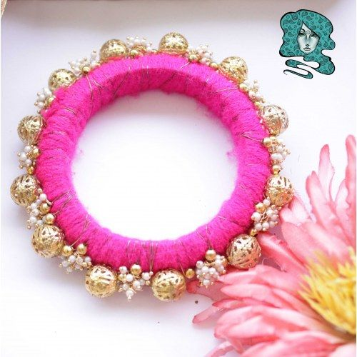 Pearl Ghungroo bangle - Pink