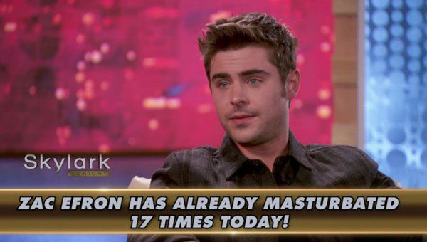 Zac recently sat down for an interview with James Franco, where he revealed he pleasured himself 17 times that day. We're not joking. You have to see this video-- watch it here! Zac Efron, 27,sat...