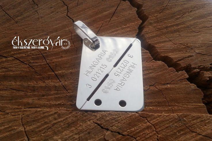 Magyar típusú, egyedi vésett (gravírozott) ezüst (925) medál. levelek@ekszergyar.hu