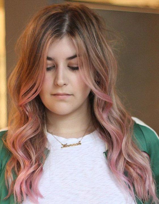 Розово-золотое омбре с укладкой «утренняя причёска»