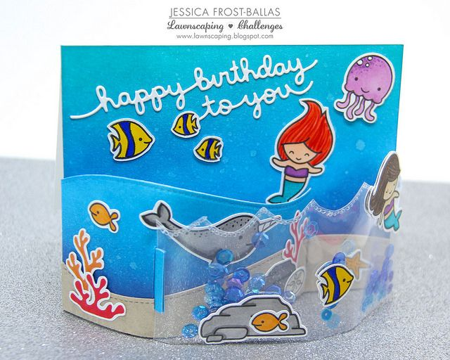 Lawnscaping Challenge: Underwater Birthday Bendi Shaker Card!