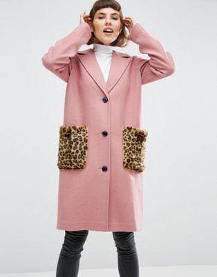 ASOS Coat in Wool Blend with Faux Fur Leopard Pockets