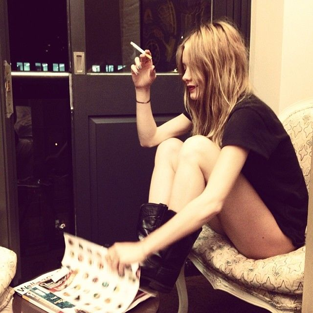 Camille Rowe | Addicted | Woman smokes
