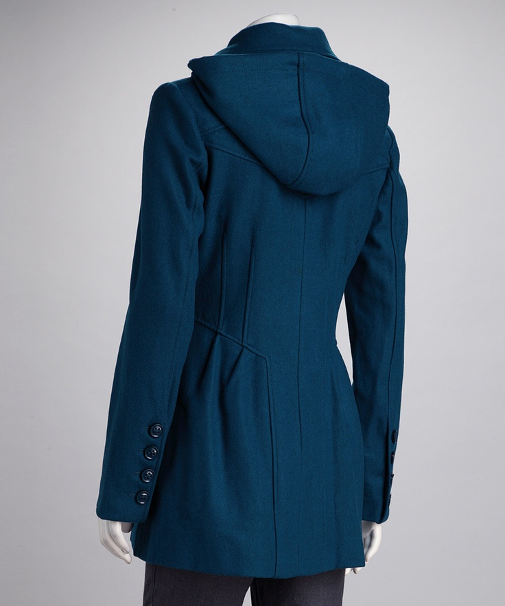 Jessica Simpson Collection Dark Teal Hooded Wool Coat | Coats ...