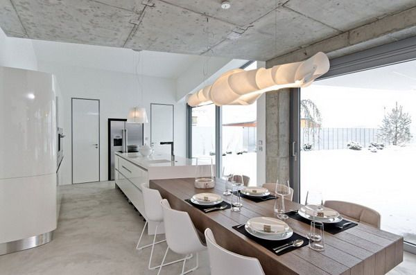 Home Interior Design for Dining Room with Wooden Dining Table and White Chairs Combined with White Kitchen Island