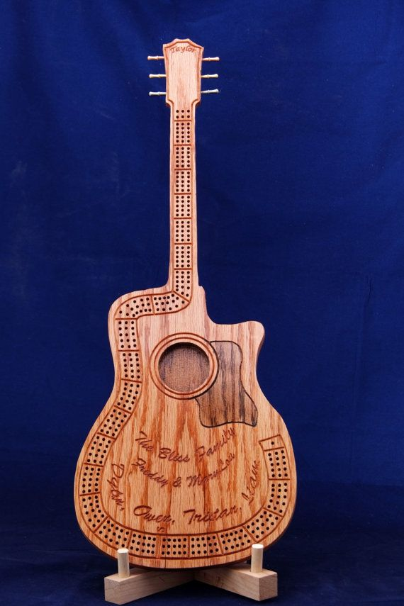 Guitar Cribbage Board by PioneerValleyWoodArt on Etsy