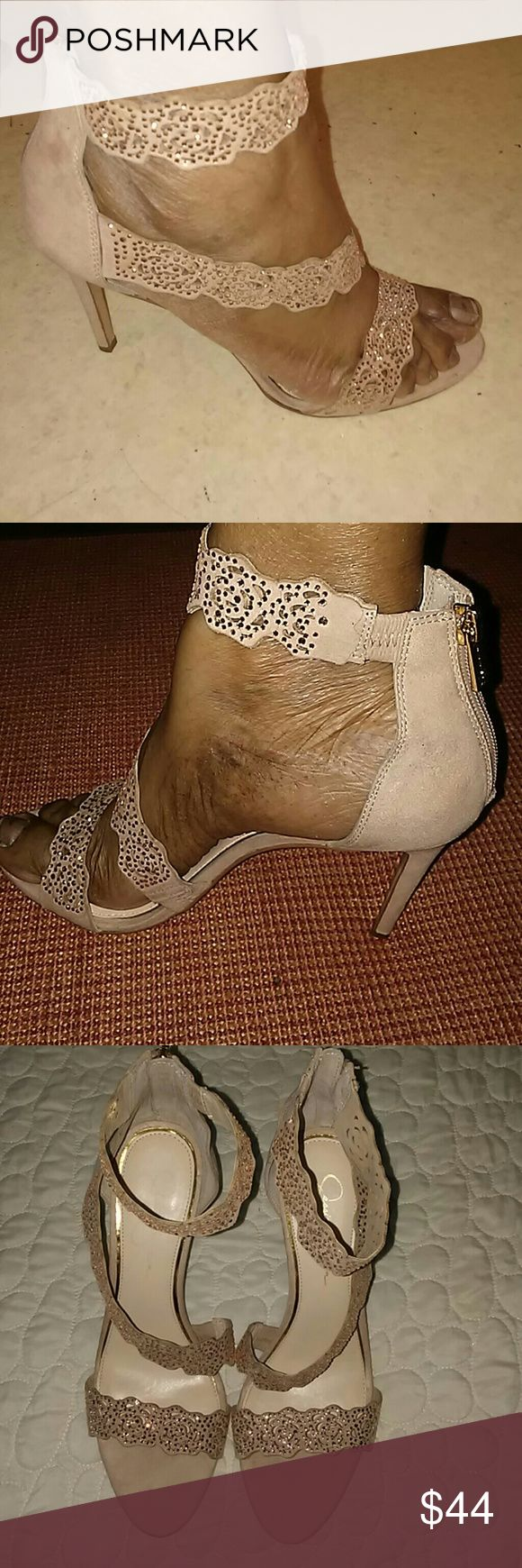 Jessica Simpson Heels Beautiful nude color heels with rhinestone embellishments on the ankle strap and straps. Jessica Simpson Shoes Heels