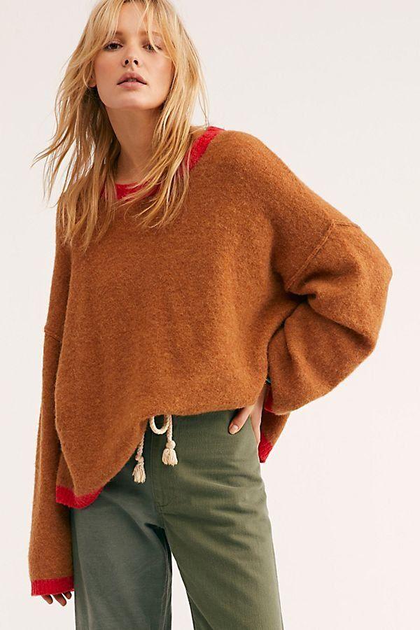 7ffeabec74914 Grandpa Crew Neck Sweater - Brown Camel Crew Neck Sweater with Red Hems -  Oversized Crew Neck Sweaters - Crew Neck Sweaters - Camel Sweaters