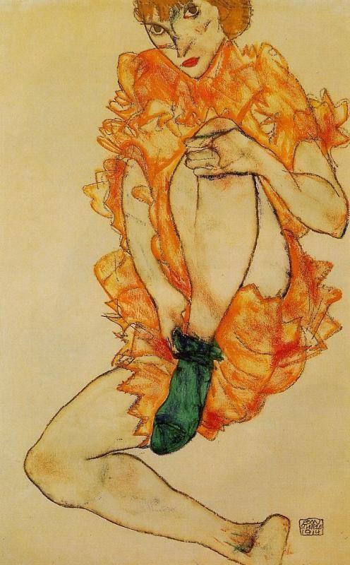 """Egon Schiele """"The Green Stocking"""""""