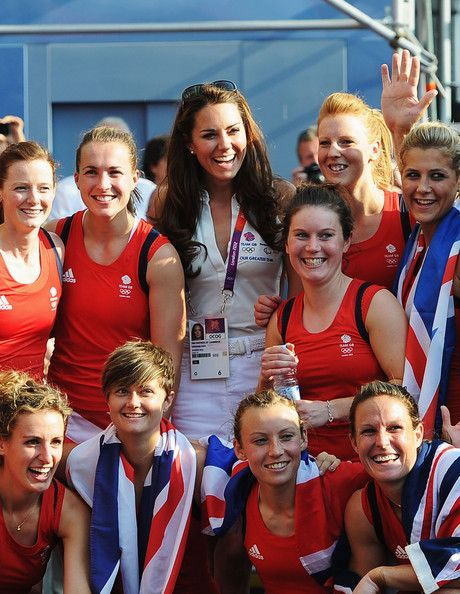Catherine, Duchess of Cambridge (C) poses with Team GB after their Women's Hockey bronze medal match against New Zealand on Day 14 of the London 2012 Olympic Games at Riverbank Arena Hockey Centre on August 10, 2012 in London, England.