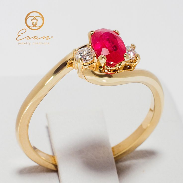 Inel de logodna din aur cu rubin oval si diamante model three stones ES80