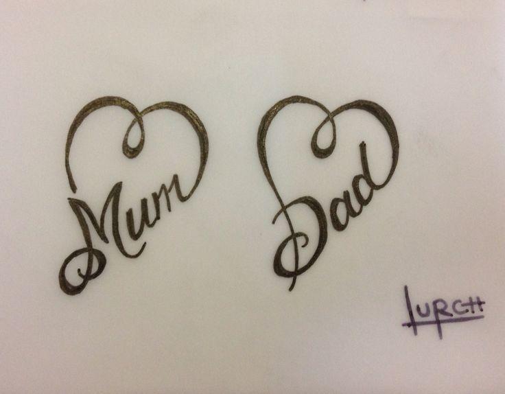 Little female tattoo design mom dad heart forever love parents have #des